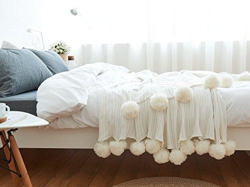 AliceHome - Manta Punto 100% algodón Pompones Cama