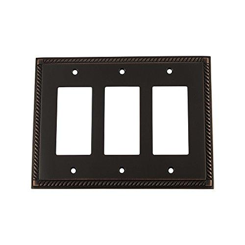 Nostalgic Warehouse - Placa de interruptor de cuerda con triple Rocke, marrón, 719679