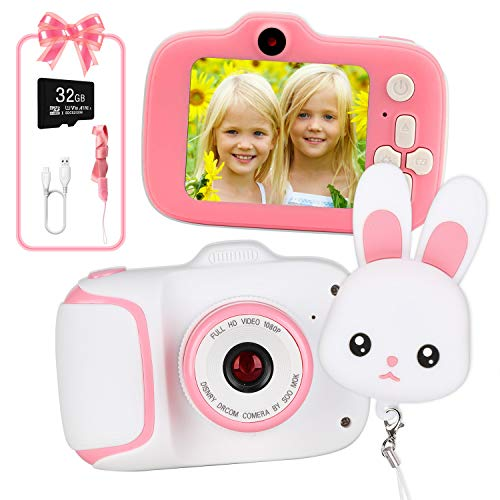 Kids Camera HD Digital Video Cameras for Toddler,Best Birthday Gifts for Girls, Kids Digital Camera with 2 Inch IPS Screen and Rabbit Lens Cap for 3-10 Year Old Kids