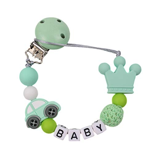 Clips Nombre Chupete personalizado Perlas de silicona lindo del soporte para soothie Chupete para Niños Niñas del Pacífico clip del regalo de la ducha gran para el recién nacido - Verde