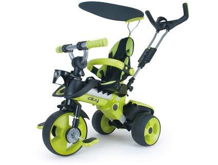 Evolutionary Triciclo City Green per Neonati +6 Mesi con Impugnatura dello Sterzo Parentale e Ruote con Elastico