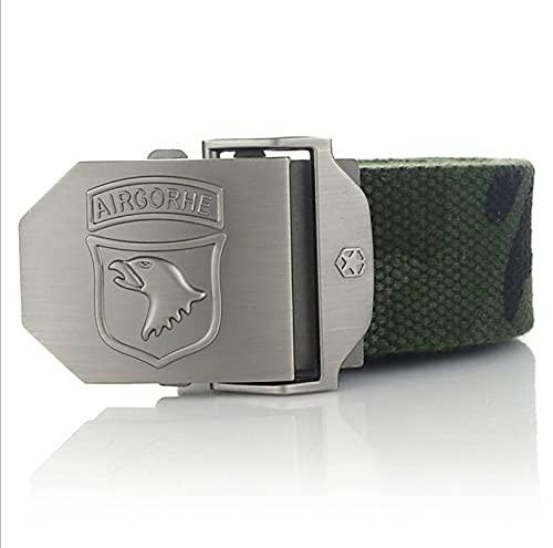 NSXLSCL Cinturón Táctico Militar - Eagle Head Cinturón De Lona Unisex con Hebilla De Metal - Cinturón Elástico Tejido Ajustable Informal para Hombres Y Mujeres Correa De Cintura Deportiva, Camu