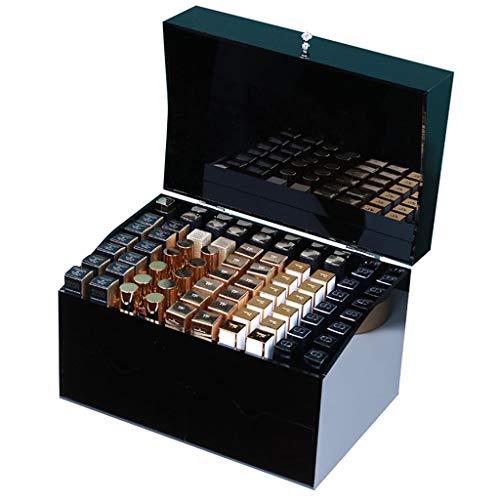 Organisateur de brillant à lèvres en acrylique et support de maquillage for la beauté avec 2 tiroirs |Rangement en conteneur 70 Spaces Organization for produits de rouge à lèvres - Noir, transparent