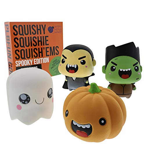 Purple Ladybug Novelty Slow Rising Halloween Spooky Jumbo SQUISHIES Pack: Gift Box Includes Vampire, Ghost, Pumpkin, and Frankenstein Kawaii Soft Squishy Toys - Squishys are Great Sensory Toys!