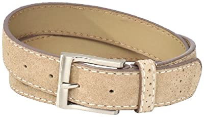Florsheim Men's Casual Genuine Suede Leather Belt with Contrast Stitched Edge