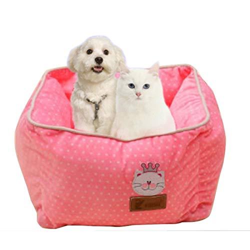 Tuzi Qiuge Hundebett in vollen Wassereimer Quadratisch Weichtierhaus Pet Supplies (Color : Pink)