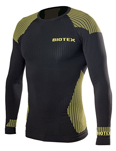 BIOTEX Bioflex Warm, Sottomaglia Uomo, 04 Nero/Giallo Fluo, II (M/L)