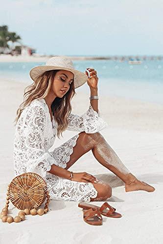LATH.PIN Vestido de playa sexy para mujer, cuello de pico, para verano, pareos, elegante camiseta de playa, Blanco, XXL