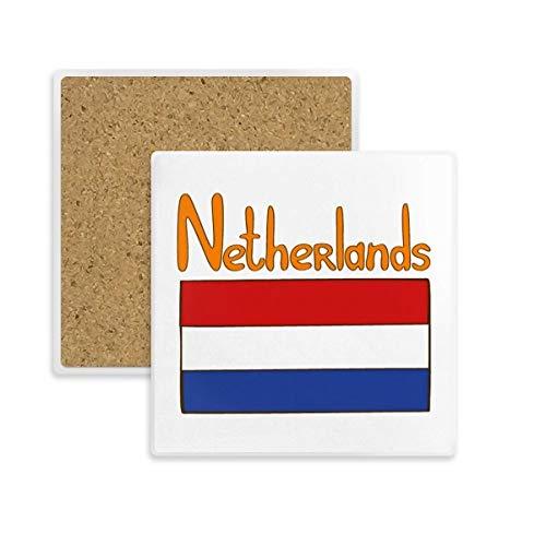 DIY thinker nationale vlag van de Nederlandse nationale vlag patroon Coaster Plaza bekerhouder van steen absorberend voor cadeau dranken 2 stuks