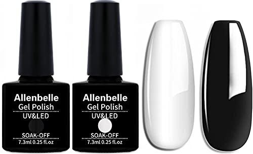 Allenbelle Gel Nail Polish Set-2PCS Black And White Gel Nail Polish Set -Soak Off Black Gel Nail Polish And White Gel Nail Polish Nail Art Manicure Salon DIY at Home(Lot de 2PCS ,7.3M)