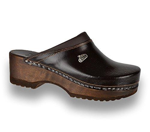 Leon B4 Zuecos Zapatos Zapatillas de Cuero Para Mujer, Marrón, EU 41