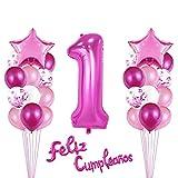 Decoracion Cumpleaños 1 Año,Rosado Globos de Cumpleaños 1 Año,Pancarta de Feliz Cumpleaños,40' Foil Helio Globo Número 1,1er Primer Cumpleaños Decoración para Niña Baby Shower