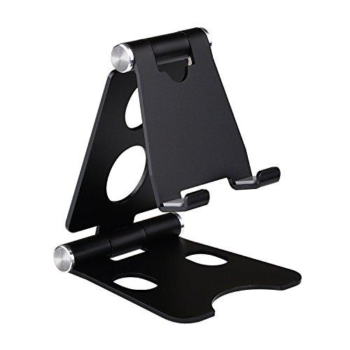 GUDUO Compatibile Soporte de teléfono de Escritorio de ángulo múltiple de aleación de Aluminio 270 ° iPhone 1/2/2/3/4/5/6 para teléfono Inteligente Android Stand-Black