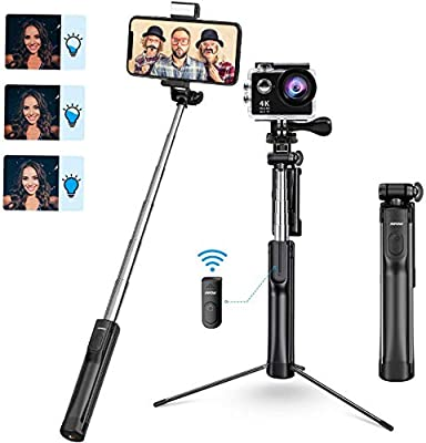 Mpow Selfie Stick Tripod, All in 1 Portable Extendable Selfie Stick with Bluetooth Remote & Fill Light