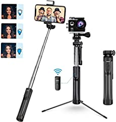 ALL IN 1 TRIPOD & SELFIE STICK COMBO FOR PHONE & CAMERA: combination of handheld Selfie stick, table tripod, floor tripod. It fits most iOS/Android phones, GoPro (ONLY with universal 1/4 screw, But NO COME WITH GoPro Adapter) and small cameras (less ...