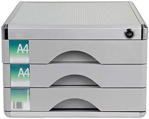 FACAIA Archivadores Material de aleación de Aluminio de Alta dureza Organizador de cajones de Escritorio con Cerradura Riel Deslizante Hebilla Antideslizante (30X36X21CM) Librería (Color: Plata)