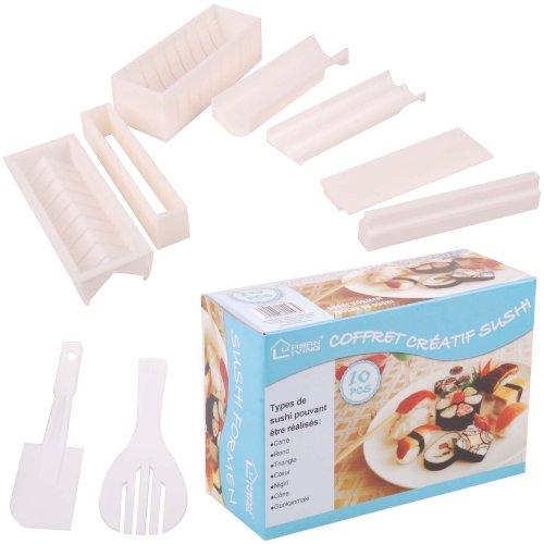 Coffret Set Cuisine Asiatique Kit Pour Sushi 10 Pièces 7 Moules Multiformes Party