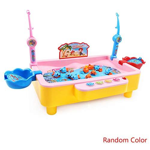 Willekeurige kleur Kinderspeelgoed Dubbel vissenzwembad Elektrisch roterend magnetisch visspel Verjaardag Buitenspeelgoed Cadeauspel