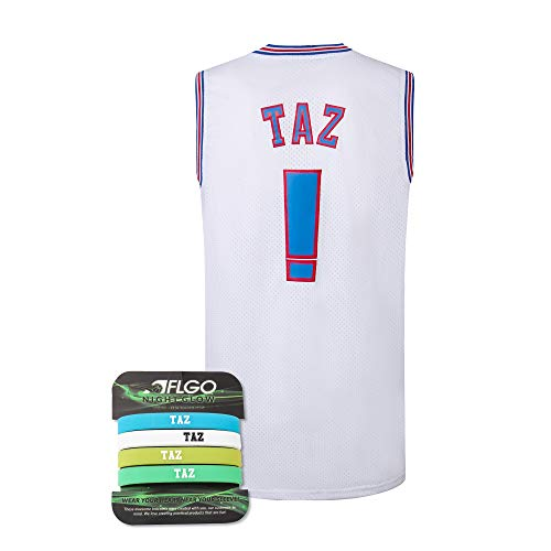 AFLGO Taz #! Space Basketball Movie Jersey S-XXL 90S Hip Hop Party Clothing Include Set Wristbands - White, Large
