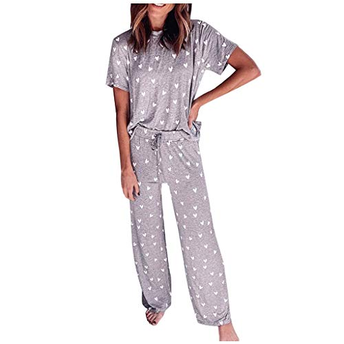 Janly Clearance Sale Conjunto de pijama para mujer, ropa de dormir estampada con cuello redondo y manga corta con pantalones largos, para verano (Khaki/L)