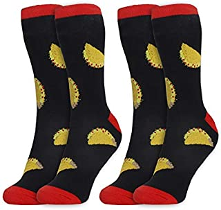 2-Pair Mens Novelty Crew Socks - Taco Food Print, Casual Trouser Socks