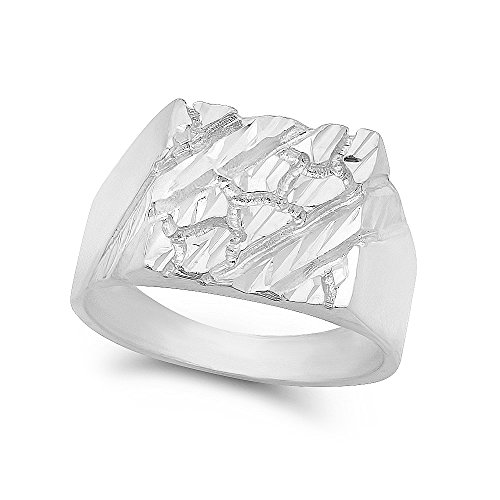 Large 22mm 925 Sterling Silver Italian Crafted Chunky Nugget Square Top Ring, Size 8 + Cleaning Cloth