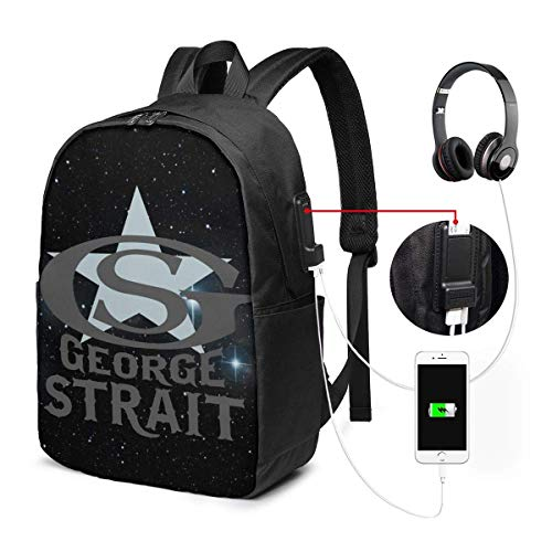 Lawenp George Strait Laptop Backpack 17 Inch College School Backpack with USB Charging Port Casual Daypack for Travel