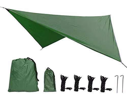 Uong Zeltplane Camping Zelt Tarp, 2.3x2.3m PU2000mm Wasserdicht Hängematte Tarp Regen Fliegen 230 * 230cm mit 2 Aluminiumpfähle + 4 Seilen, Leichte Tragbare für Camping(Dunkelgrün)