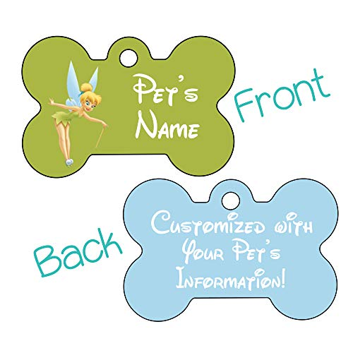 Princess Double Sided Pet Id Tag for Dogs & Cats Personalized with 4 Lines of Text (Tinkerbell)