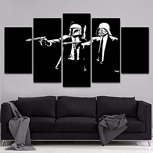 GSDFSD Juego de 5 Cuadros para el Dormitorio Sala de Estar Baño Star Wars Stormtrooper Darth Vader Lienzos Decorativos,Sin Marco 40x100cmx1pcs, 40x80cmx2pcs,40x60cmx2pcs