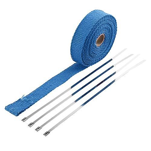 Hitzeschutzband Auspuffband,Titan-Wärmedämmband für AuspuffTurbo Manifold Isolierkrümmer Wrap Tape Thermal Edelstahl Kabelbinder Abgas-Isolierband Für Autos Motorräder