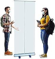 □2パック□床立ってくしゃみガード、ポップアッププラスチック分割器の透明なプラスチックスクリーンのくさびガード保護ポップアップローラーバナーのアルミ合金 (サイズ : 80x200cm/31.4x78.7in)