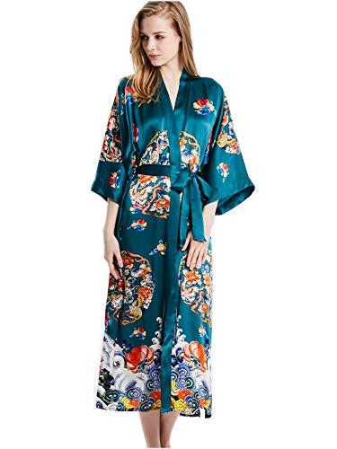 prettystern Damen Boden-lang 100% Seide Kimono Morgenmantel Robe - Blumen Cluster grün