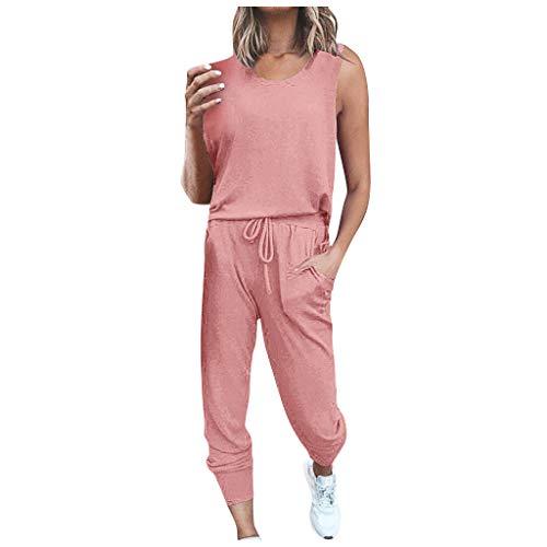 TOPSELD Damen 2 Stücke Sets Outfit Sport Yoga Fitness Lose Jogginganzug mit Kordelzug Beiläufig T-Shirt Top und 7/8 Länge Hose(Rosa,XXL)