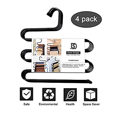 DS Pants Hanger Multi-layer S-style Jeans Hanger Closet Organize Storage Stainless Steel Rack Space Saver for Tie Scarf Shock Jeans Towel Clothes(4 Pack )