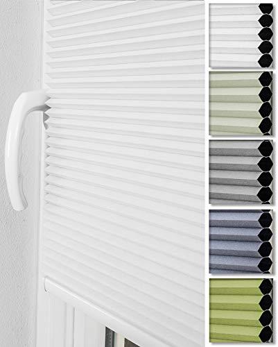 Home-Vision® Premium Doppelplissee Wabenplissee ohne Bohren mit Klemmträger / -fix (Weiß, B90cm x H120cm) Einfarbig Blickdicht Sonnenschutz Jalousie für Fenster & Tür
