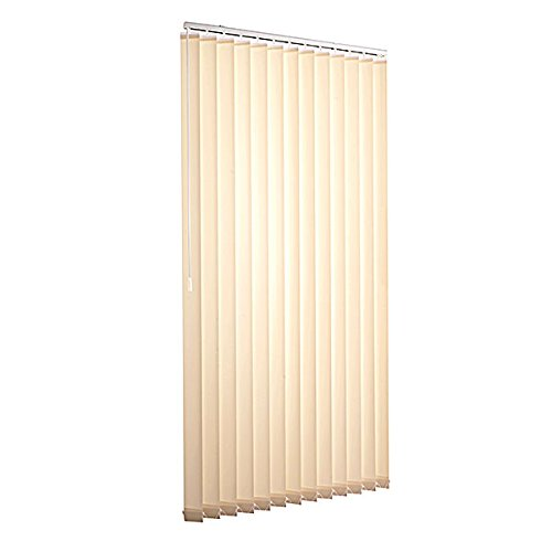 Lamellenvorhang raumverdunkelnd 100% Komplettset Vertikaljalousie 89mm inklusive Montagematerial (Beige, 125 x 250 cm)