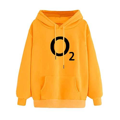 Holzkary Womens Hoodie Trendy Printed Long Sleeve Pullover Sweatshirt Slouchy Hoodies with Pocket(XS.Yellow-3)