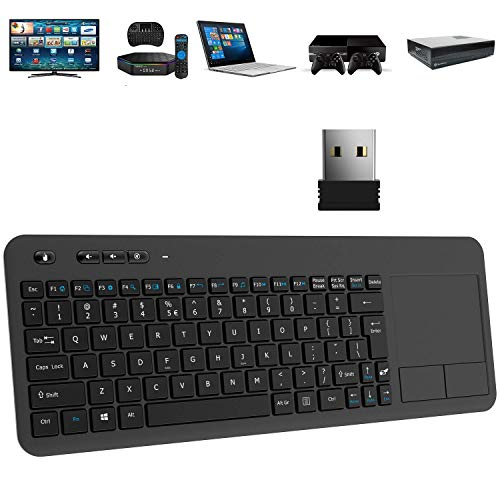 Wireless Keyboard, TedGem 2.4G Wireless Keyboard with Touchpad Keyboard Wireless Soft Touch Keyboard Ergonomic PC Touch Keyboard, Keyboard with Nano USB Receiver for Laptop/Mac/PC/Android TV (Renewed)