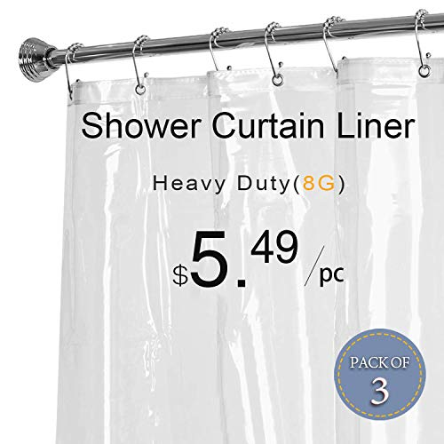 LOVTEX Clear Shower Curtain Liner - 3 Pack 72x72 Water Repellent Heavy Duty 8G Liner with Rust Proof Grommets for Bathroom Shower