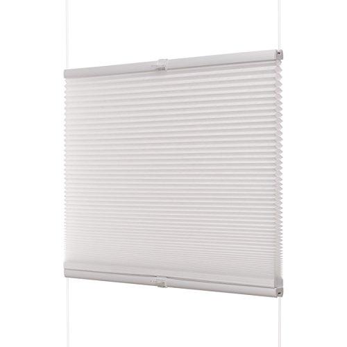 Ventanara Waben Plissee ohne Bohren Weiß tageslicht Klemmfix Plisseerollo Faltrollo verspannt inklusive Premium Klemmträger 100 x 130 cm