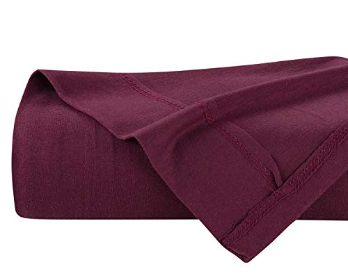 DELANNA Jersey-Strick-Bettlaken, weich, atmungsaktiv, Baumwollanteil, nur Jersey-Oberlaken (rot, voll)