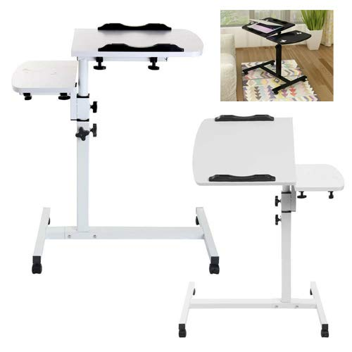 Portable Mobile Laptop Computer Table, Stand Sofa Table, Fold Laptop Desk, Height-Adjustable from 65cm - 95cm, 360° Swivel and 180° Tilt, Lockable Casters - White