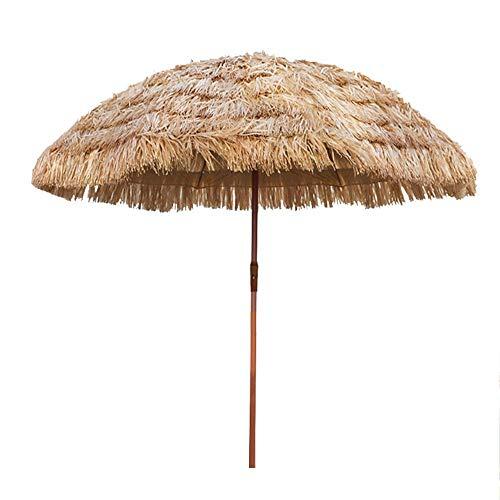 KUWD Paraguas Al Aire Libre, Sombrillas De Paja Artificiales Hawaianas con Mecanismo De Inclinación, Sombrillas De Paja Artificiales para Jardines/Balcones/Terrazas/Canchas