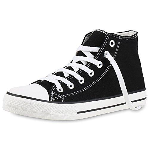 SCARPE VITA Herren High Top Sneaker Sportschuhe Kult Schuhe Canvas Stoff Freizeitschuhe Schnürer Turnschuhe 145020 Schwarz Black Total 37