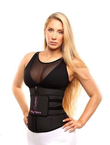 Body Maxx Large Waist Trainer Waist Trainer for Women - Waist Trainer and Shaper - Ab Shaper for Women - Ab Trainer for Women - Slim Waist Trainer - Stomach Cincher - Waist Trainer for Curves Black