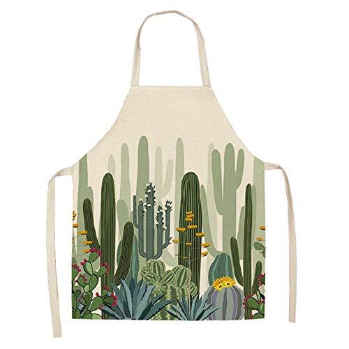 ZHOUBINBIN Delantal,Apron, Cactus Fresco Impreso Antifouling Cocina Apron Algodón Lino Sin Mangas...