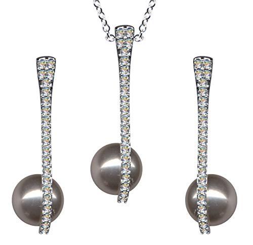 Juego de joyas de plata de ley 925, pendientes + cadena + colgante de perla, estilo modernista Art Nouveau collar colgante cadena plata colgante pendientes circonitas cristales nuevo blanco claro