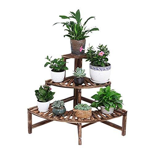3 niveles plantador maceta titular de la esquina flor de la esquina / de pino madera jardín flor de la floración de la planta de la planta estantorieta / soporte de flores / estantes de aterrizaje mac