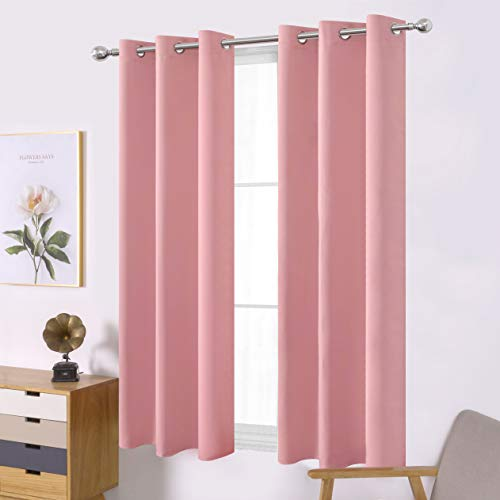 LEMOMO Pink Thermal Blackout Curtains/38 x 54 Inch/Set of 2 Panels Room Darkening Curtains for Bedroom